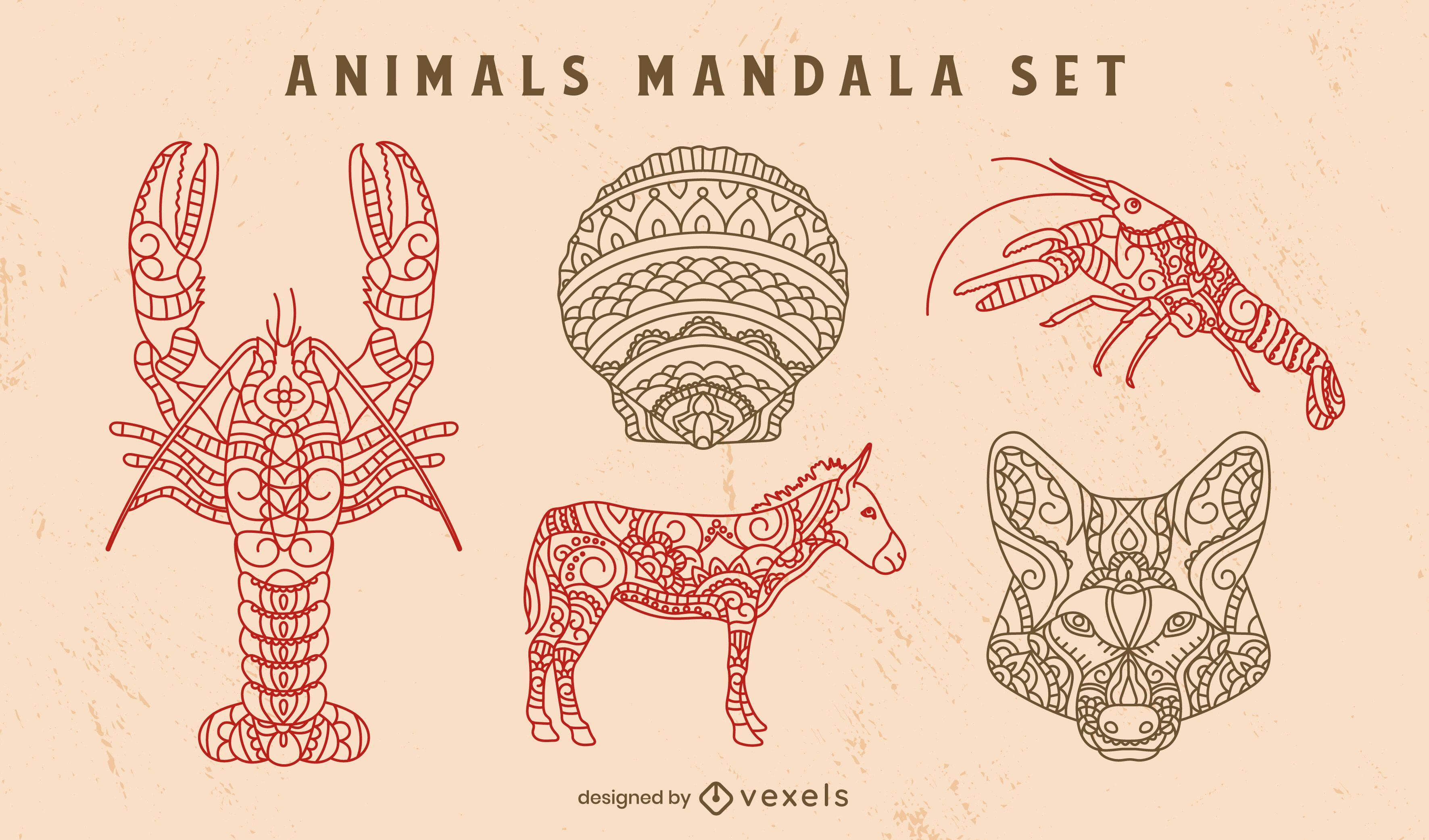 Dekoratives Set der Wildtier-Mandala-Natur