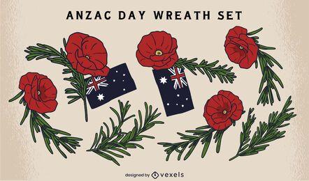 Anzac day wreath flowers set