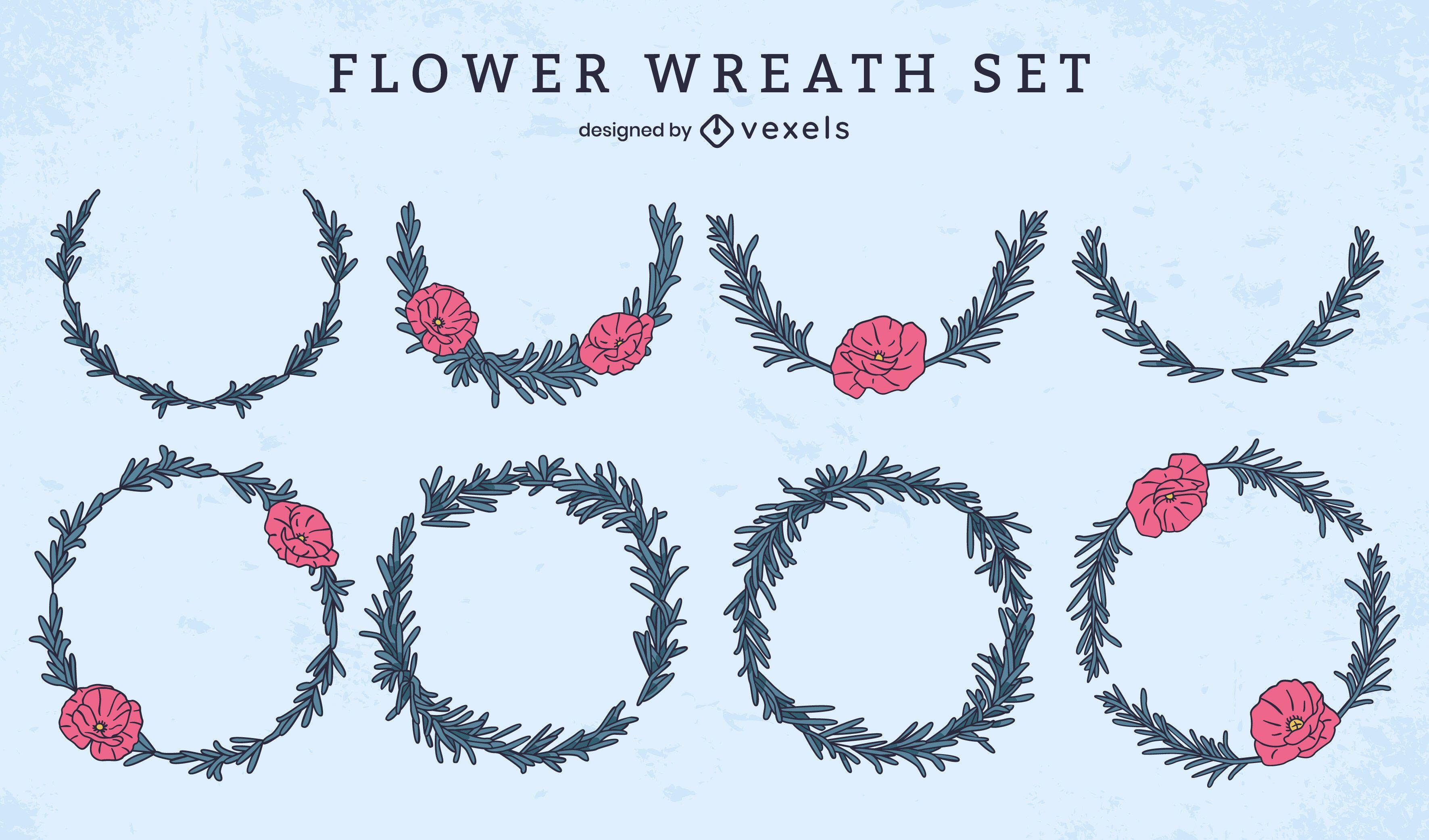 Flower wreath decorative memorial set