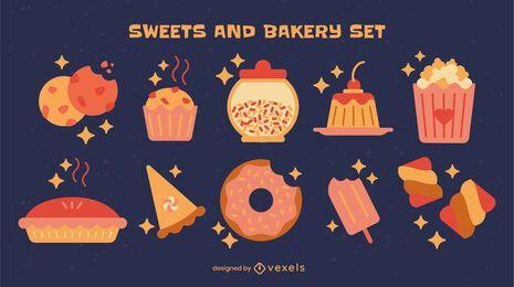 Conjunto de elementos de dulces y postres.