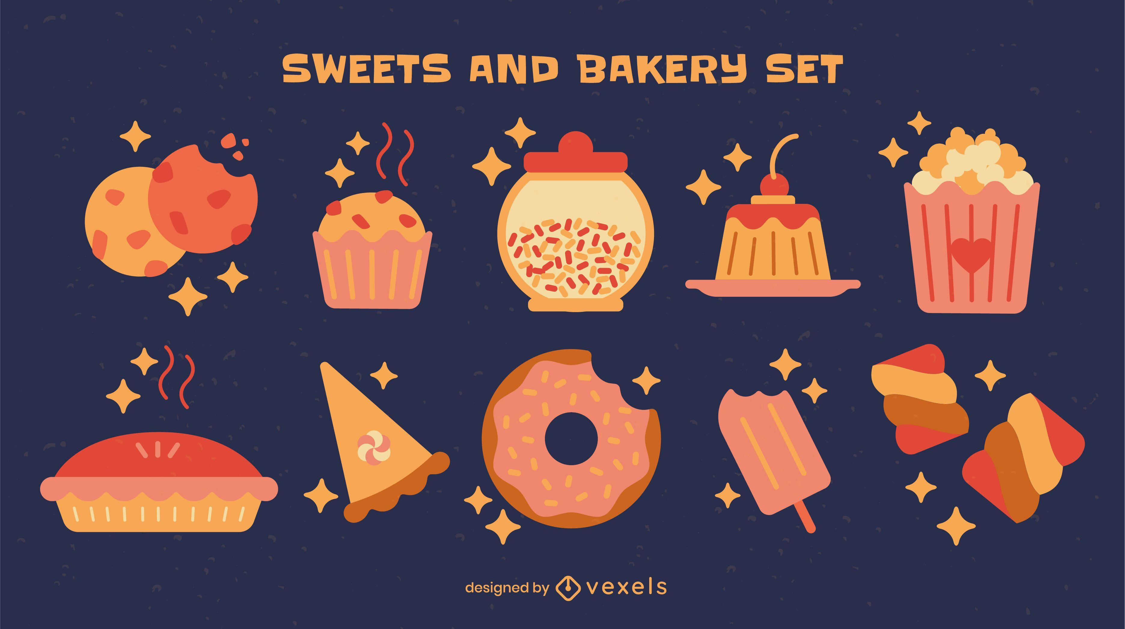 Conjunto de elementos de doces e sobremesas
