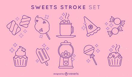 Sweet food and desserts stroke element set