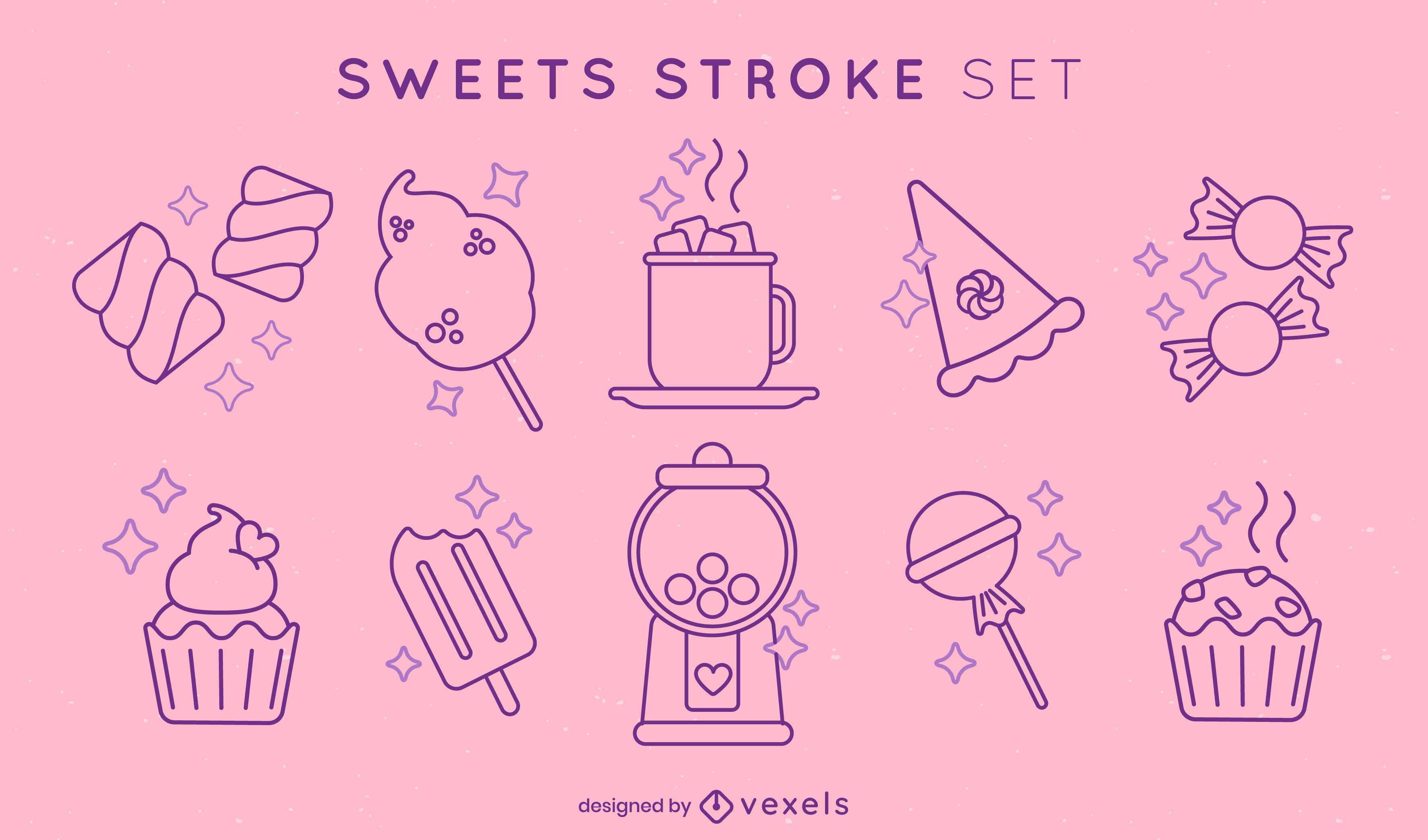 Conjunto de elementos de trazo de dulces y postres