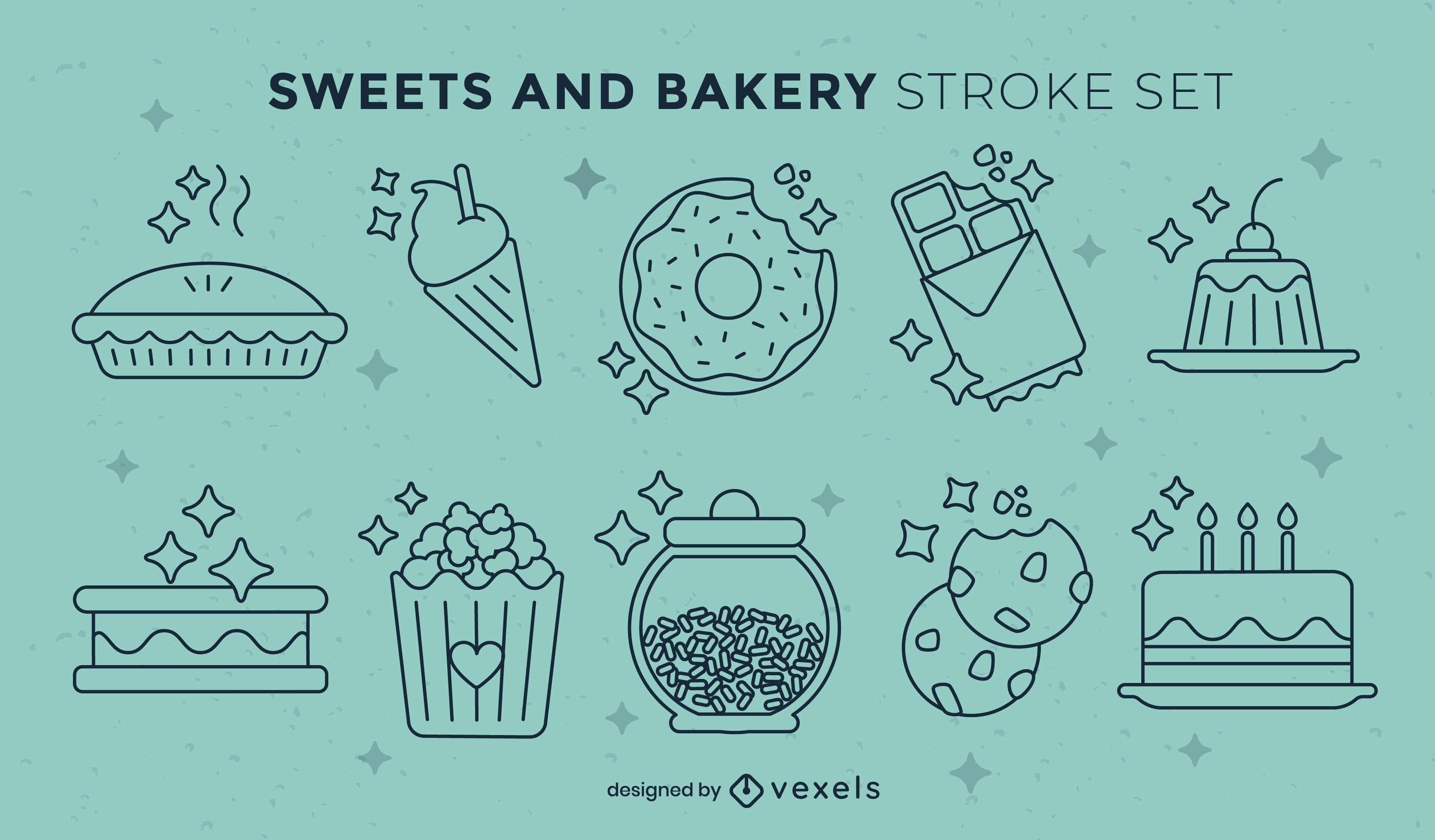 Conjunto de trazos de dulces y postres.