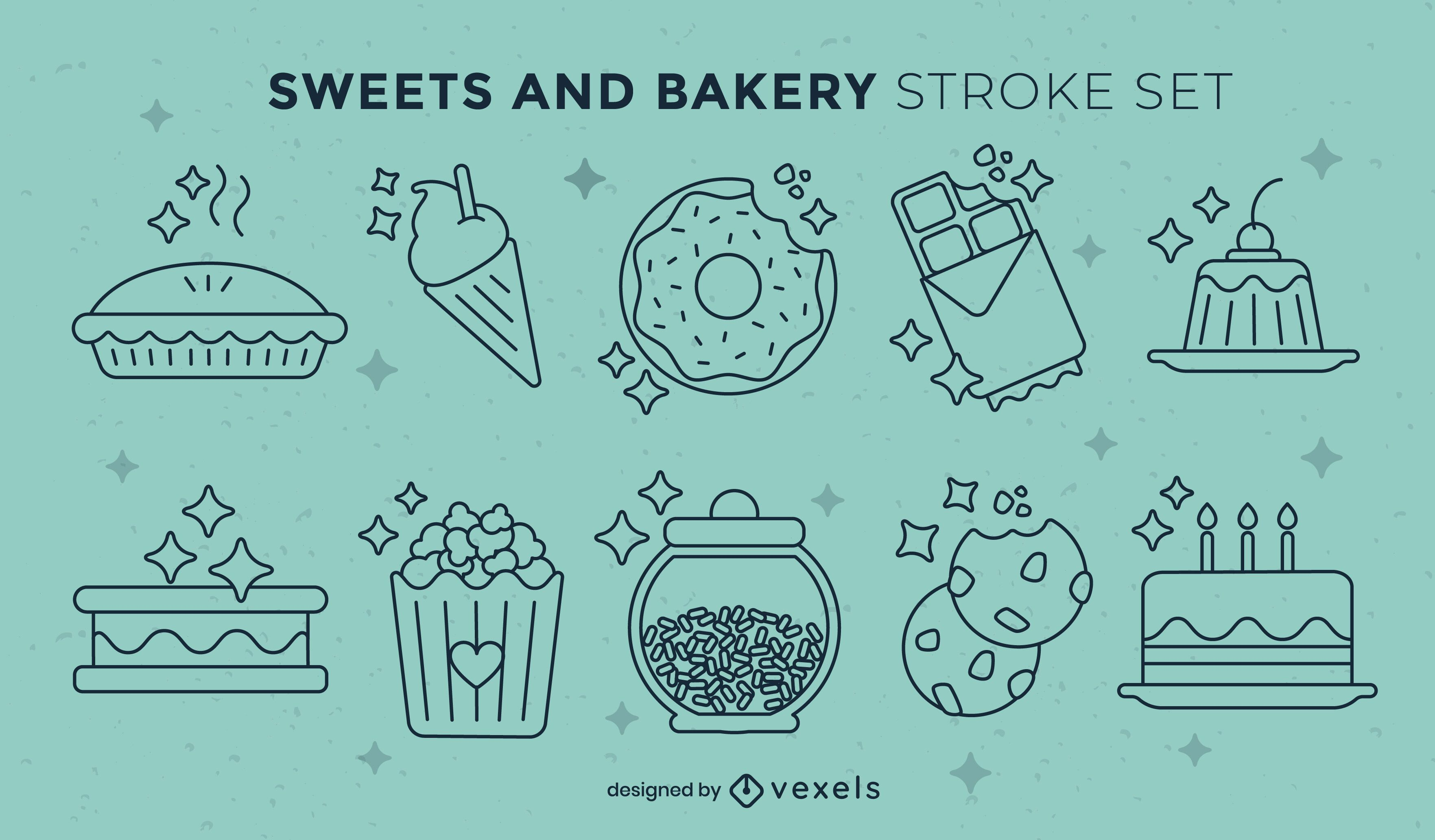 Sweet food and desserts stroke set