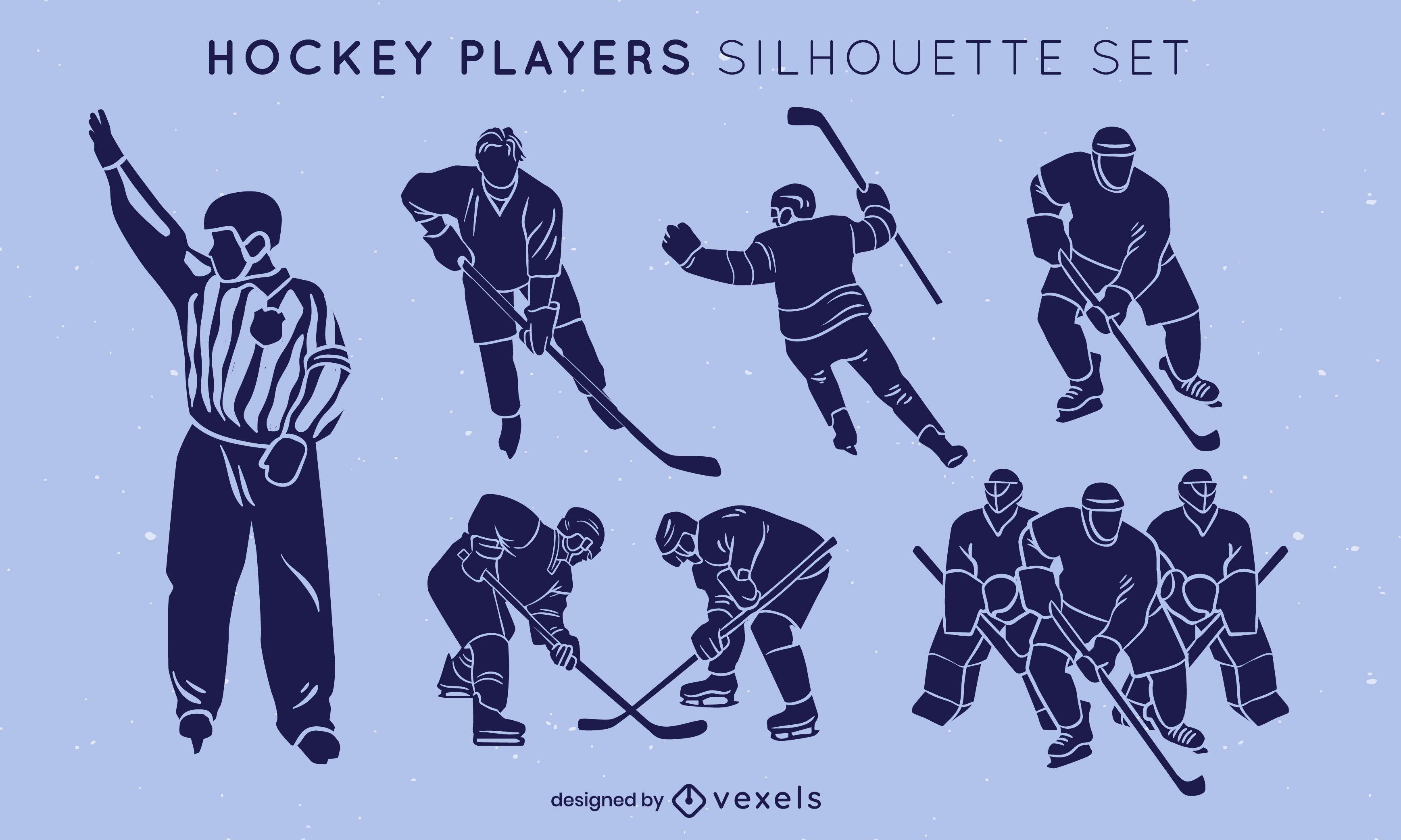 Ice hockey players poses sport silhouette set