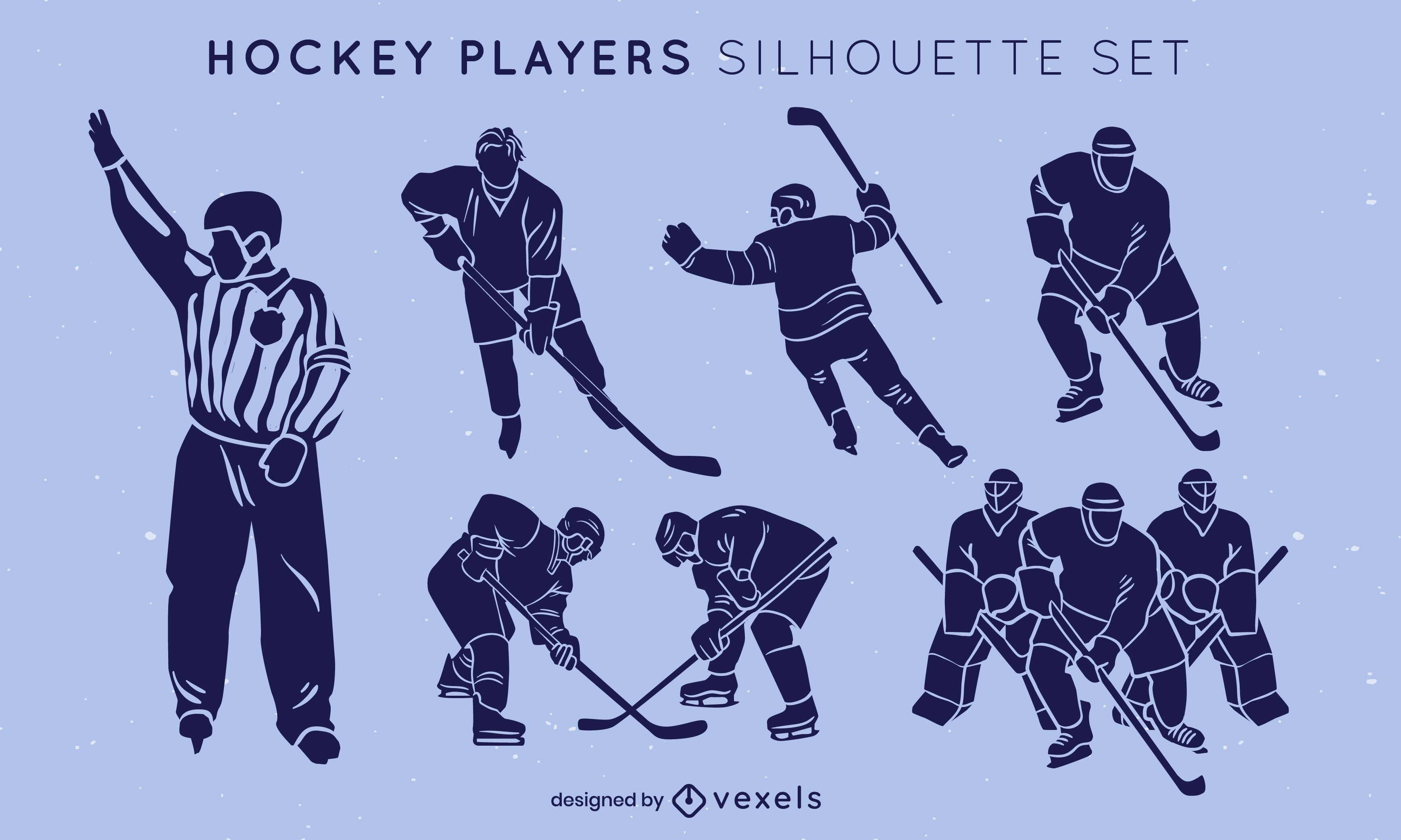 Jogadores de hóquei no gelo posam conjunto de silhueta de esporte