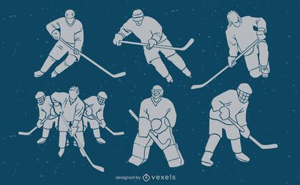 Ice hockey players match sport silhouette set