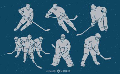 Jogadores de hóquei no gelo combinam com conjunto de silhueta de esporte