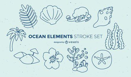 Conjunto de pinceladas da natureza subaquática do oceano