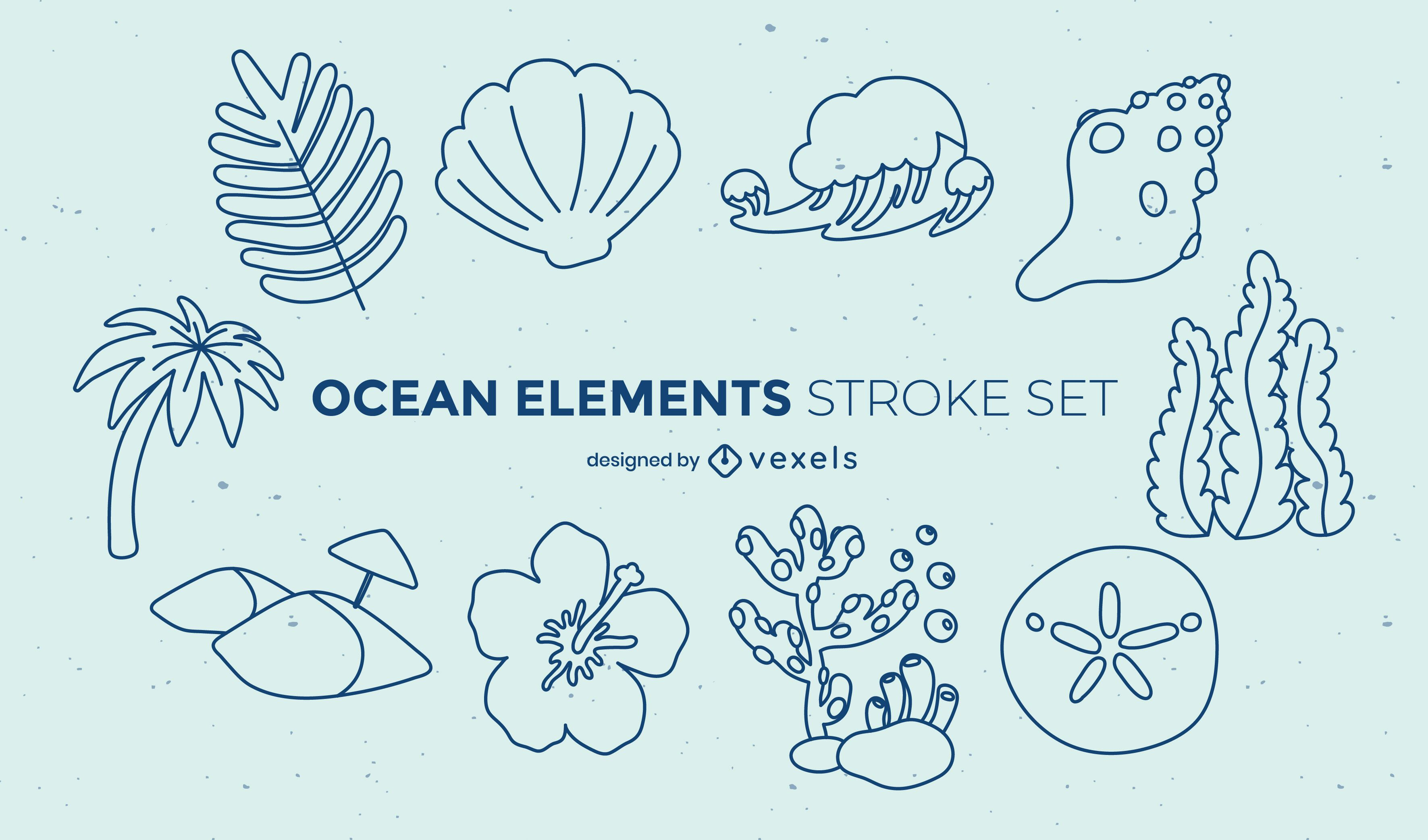 Ocean underwater nature stroke set