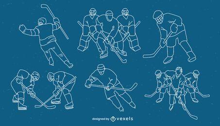 Ice hockey players poses sport stroke set