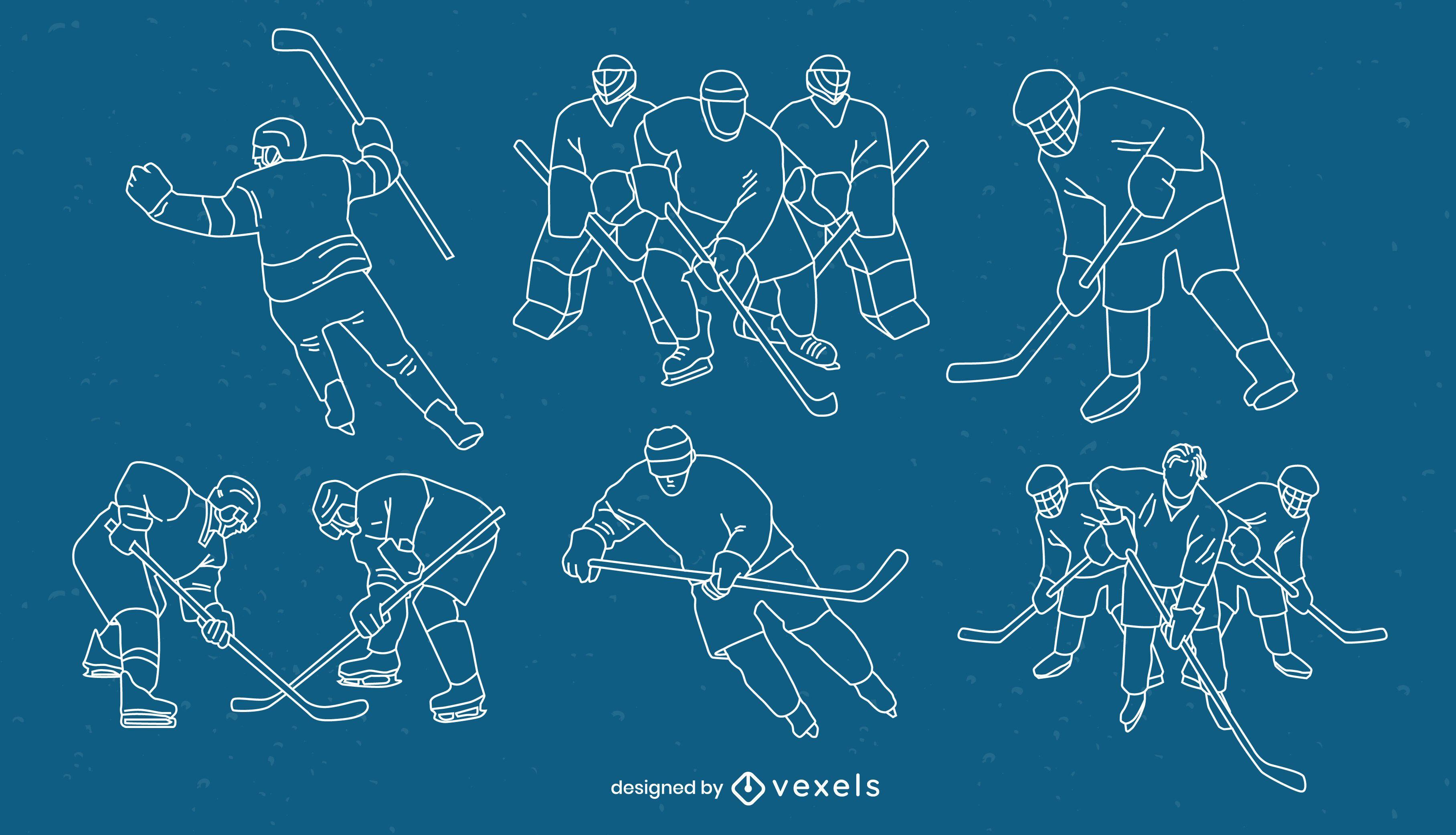 Jugadores de hockey sobre hielo posan conjunto de trazos deportivos.