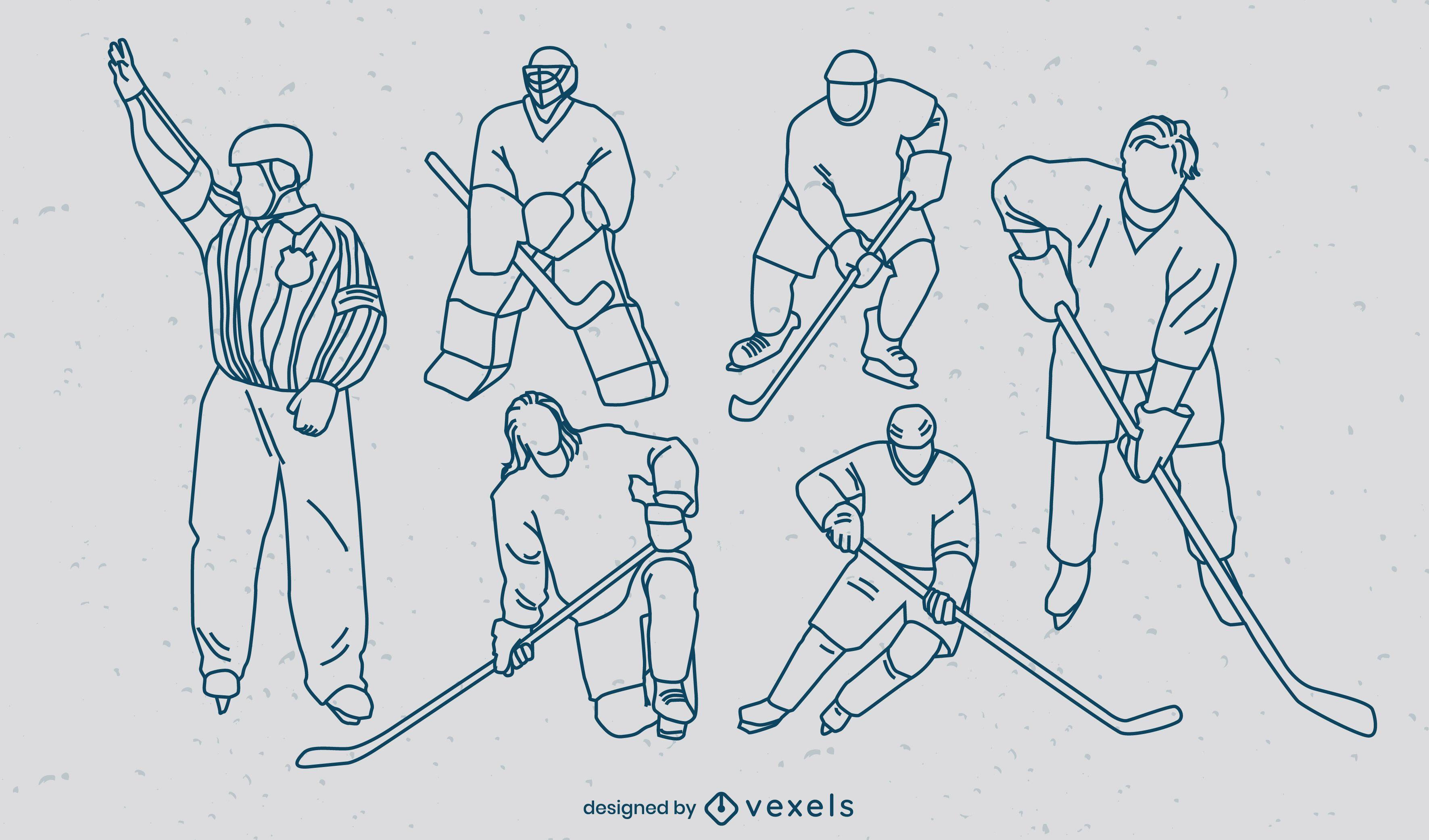 Ice hockey players match sport stroke set