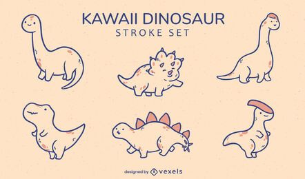 Conjunto de espécies animais de dinossauros kawaii