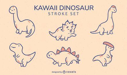 Conjunto de especies animales de dinosaurios kawaii