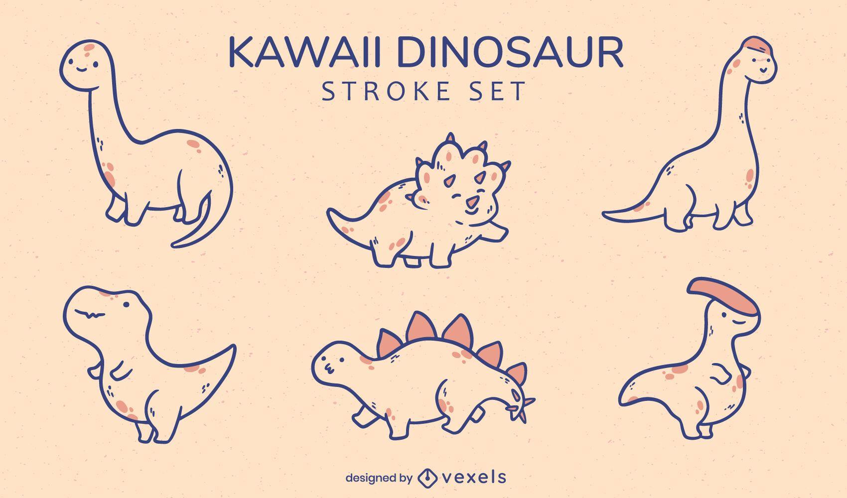 Kawaii dinosaurs animal species set