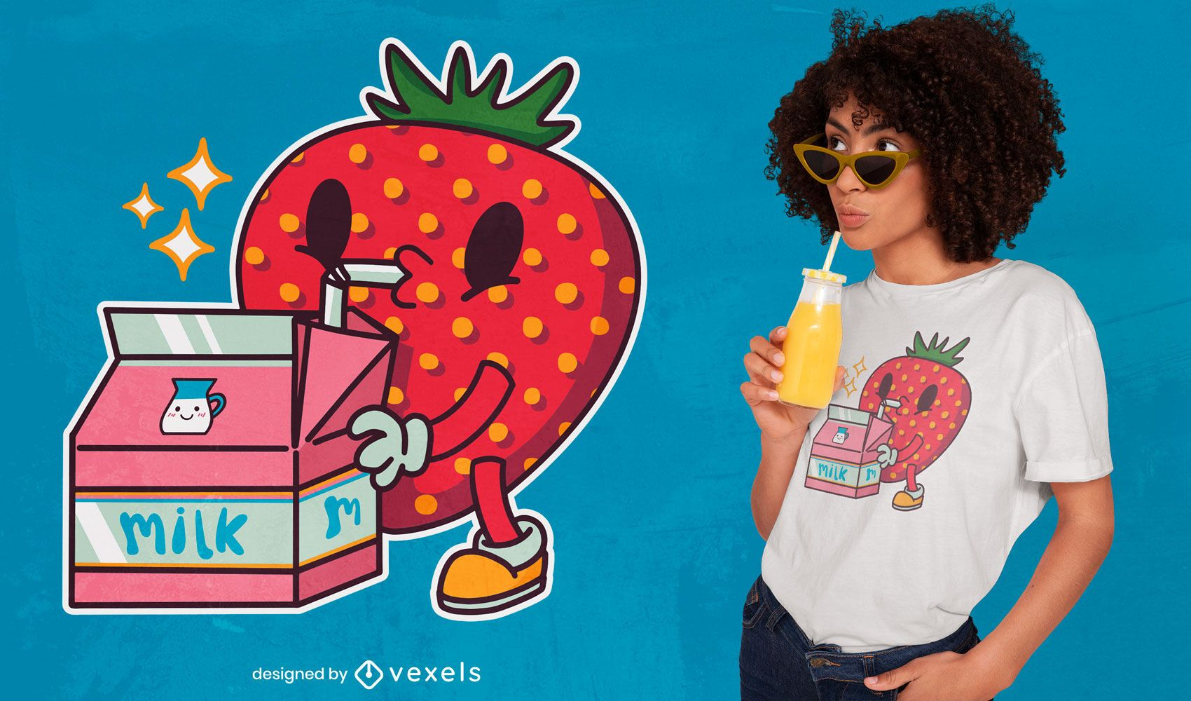 Design de camiseta com morango para beber leite