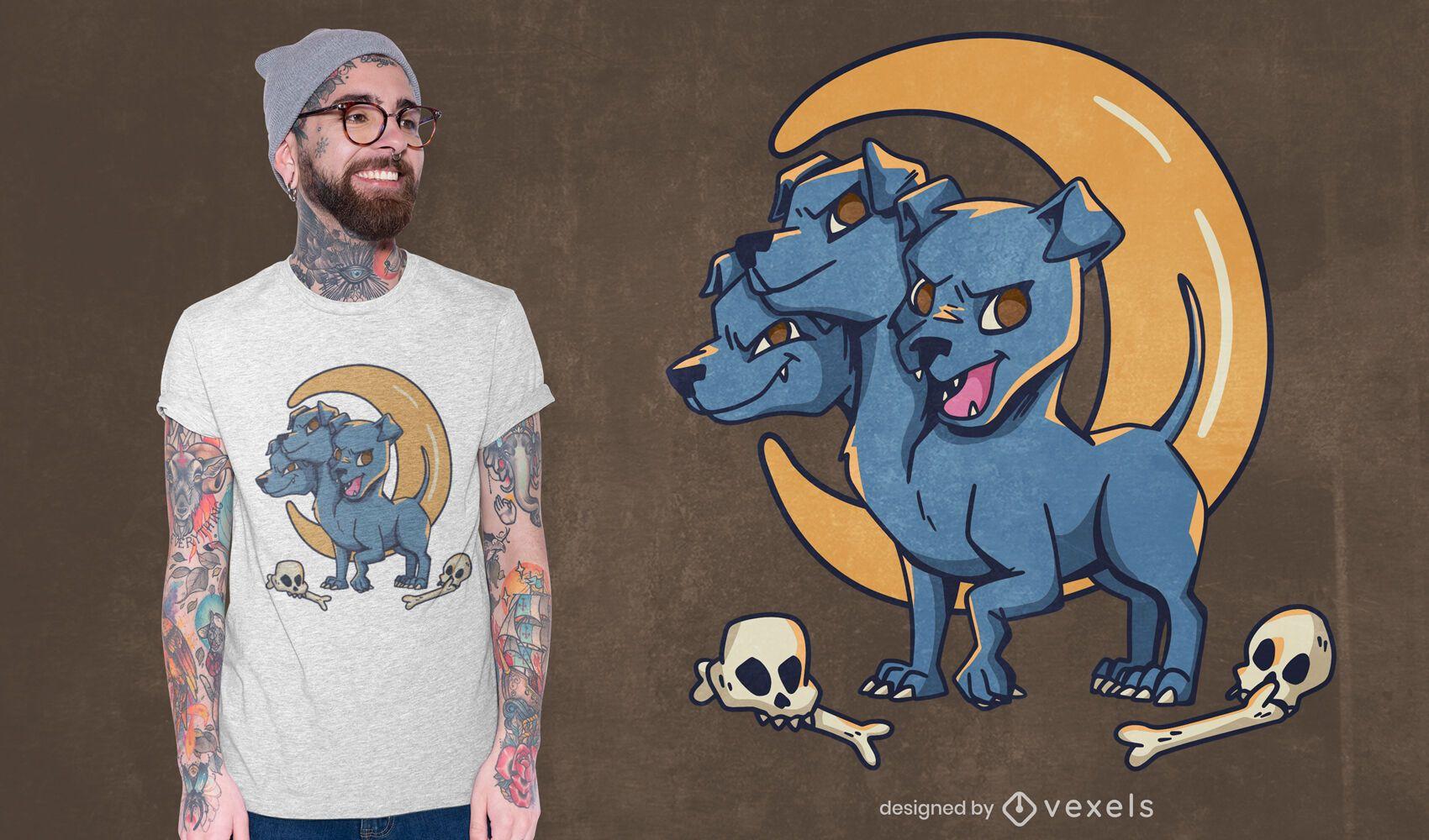 Diseño de camiseta de criatura de perro de tres cabezas.