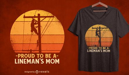 Retro sunset electric lines t-shirt design