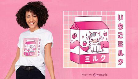 Diseño de camiseta de vaca de leche de fresa kawaii