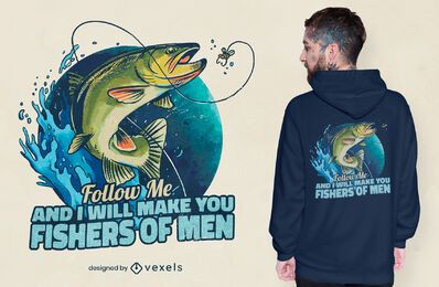 Desenho de t-shirt de peixes marinhos com citações