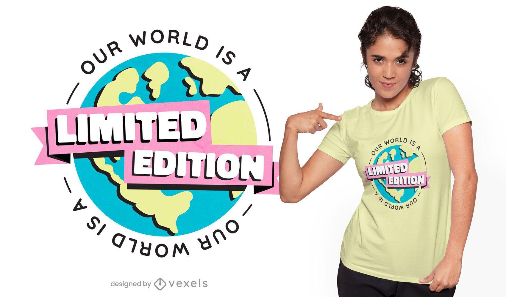 Diseño de camiseta de edición limitada de planeta tierra.