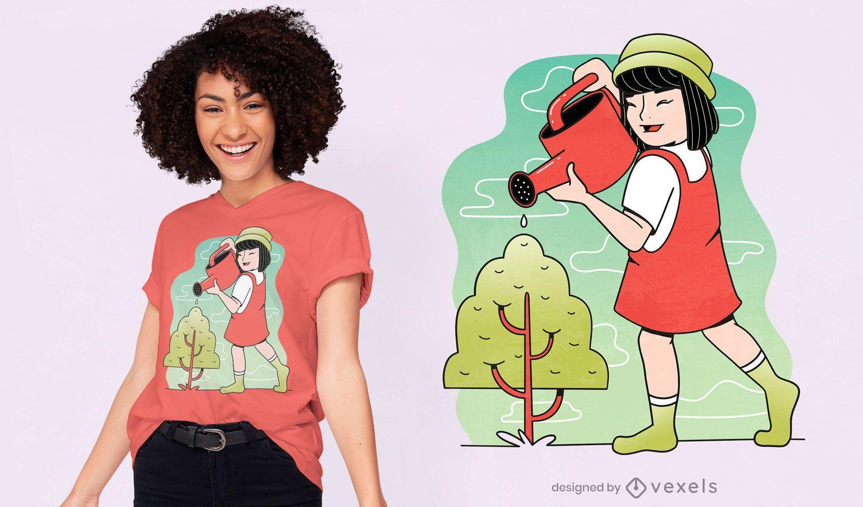 Child girl watering tree t-shirt design