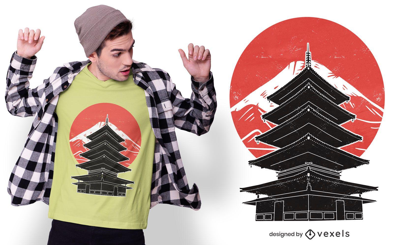 Diseño de camiseta de la pagoda del templo japonés.