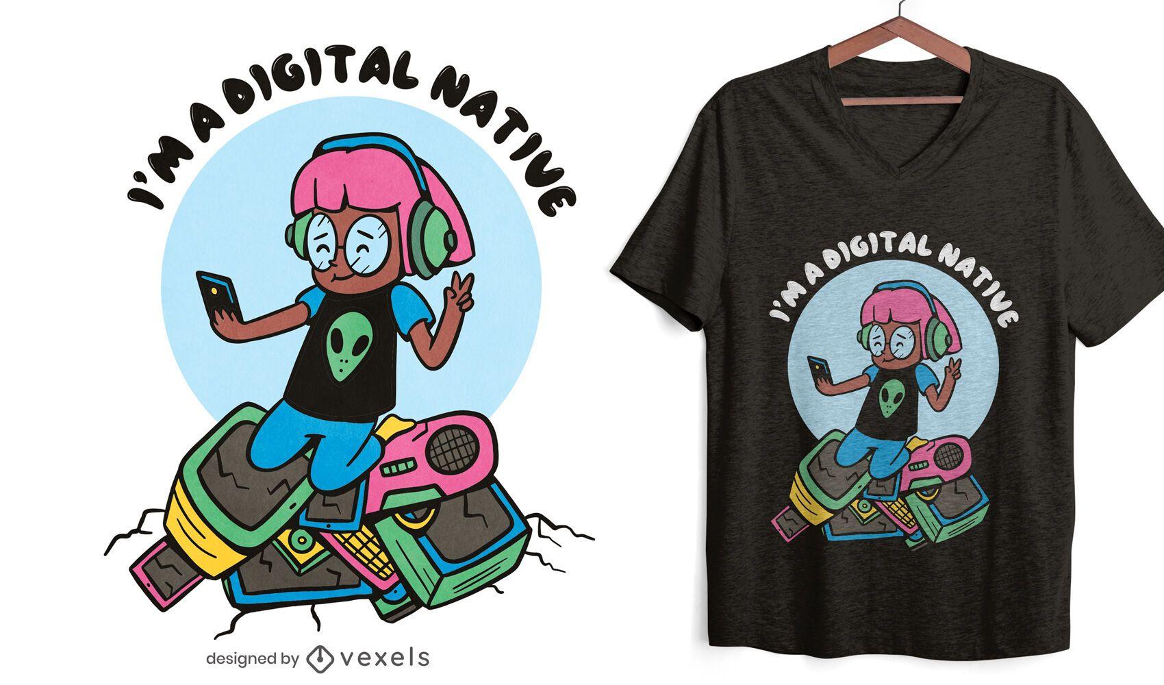 Design de t-shirt selfie feminina com tecnologia