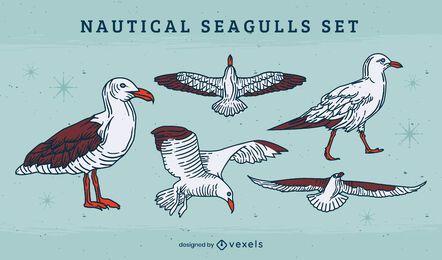 Conjunto de ilustración de vuelo de pájaro gaviota
