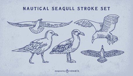 Seagull bird flying stroke set