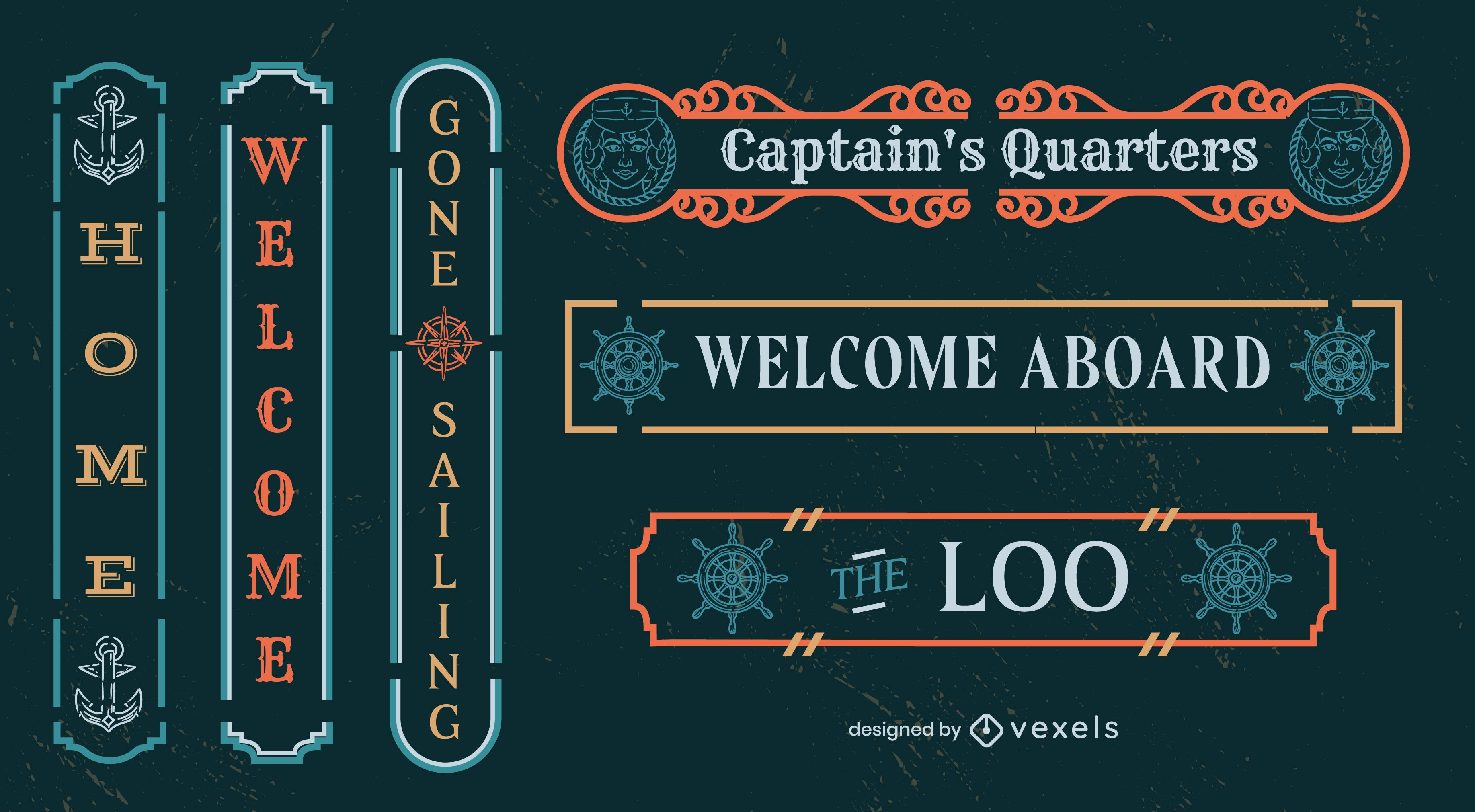 Conjunto de etiquetas de cotizaciones de navegación de barcos capitanes