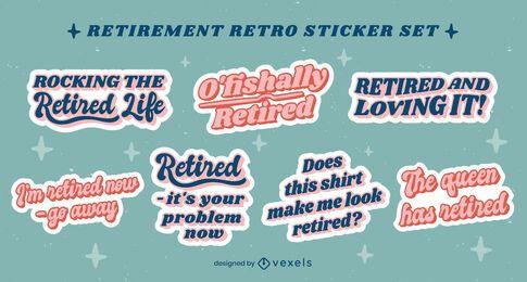 Paquete de pegatinas retro de cotizaciones de jubilación