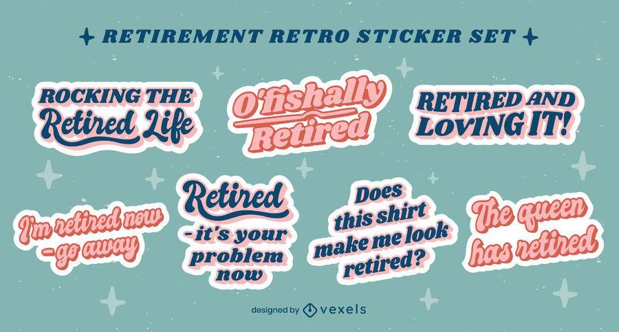 Retirement quotes retro sticker pack