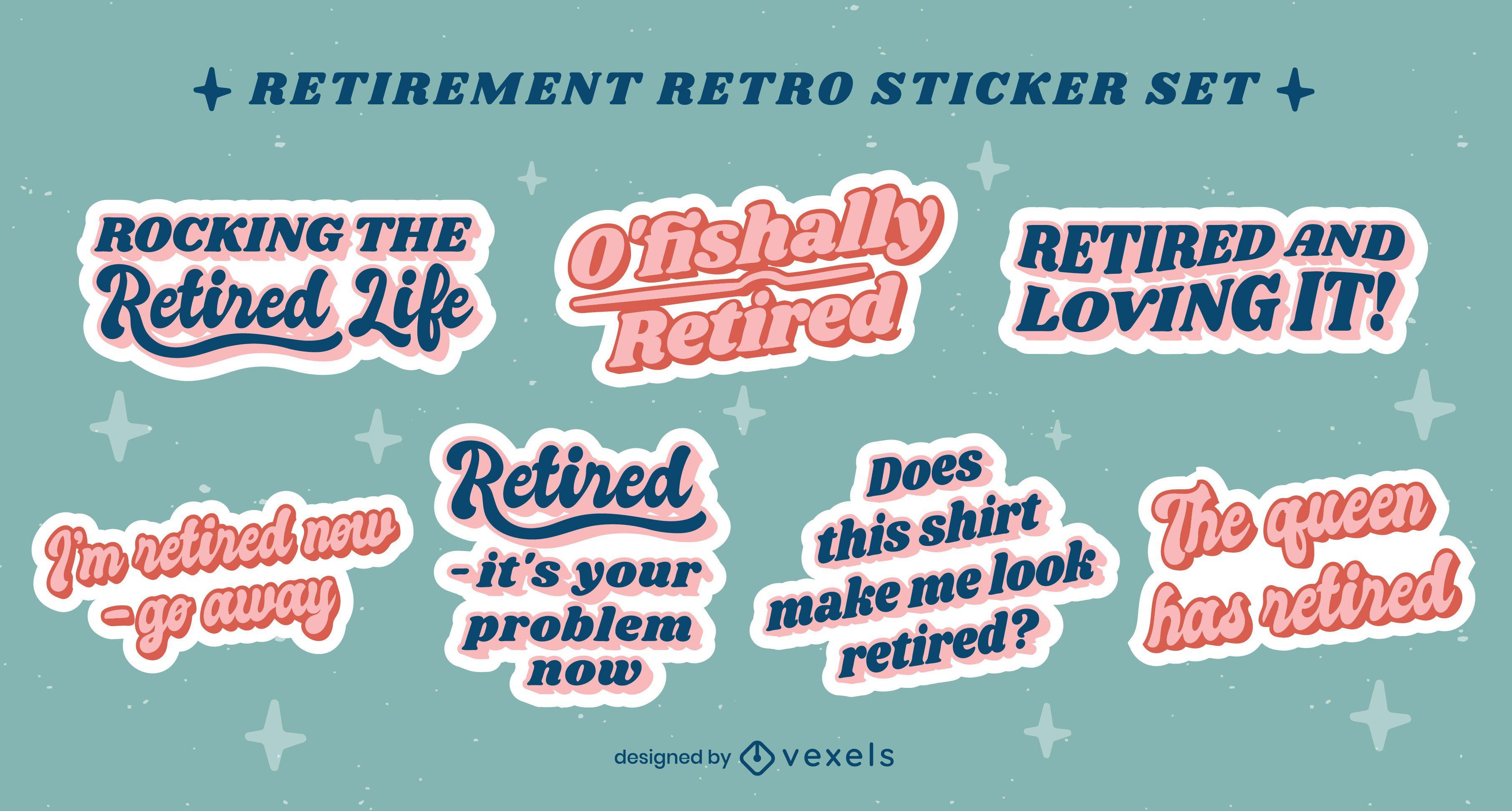 Pacote de adesivos retrô de citações de aposentadoria