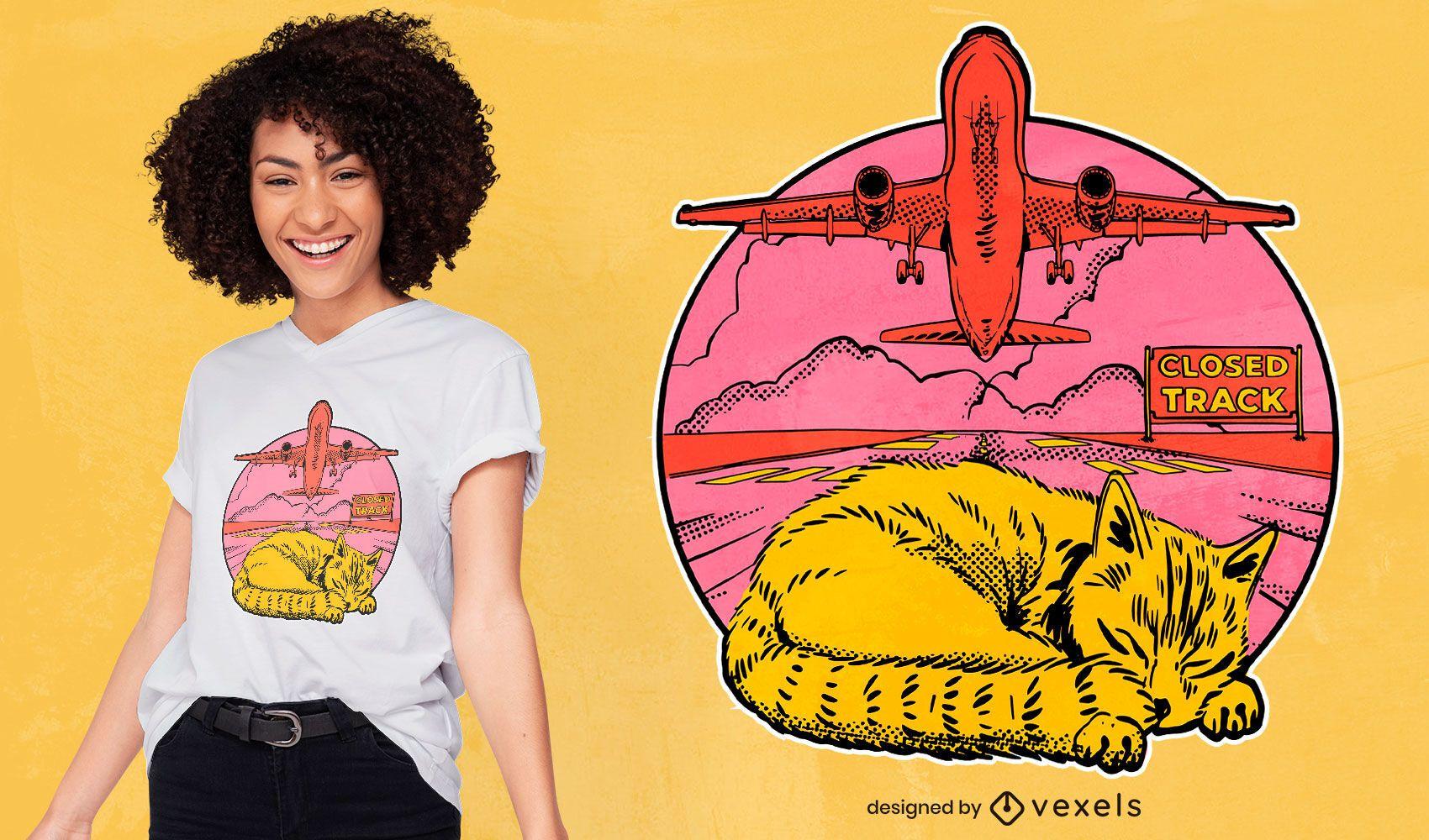 Dise?o de camiseta de avi?n para dormir de gato del aeropuerto.