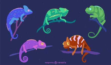 Paquete de naturaleza de animales coloridos camaleones