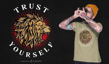 Design de t-shirt de citação de Leão que ruge confiança