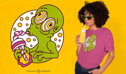 Alien drinking milkshake t-shirt design