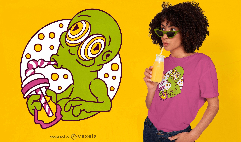 Diseño de camiseta alienígena bebiendo batido.