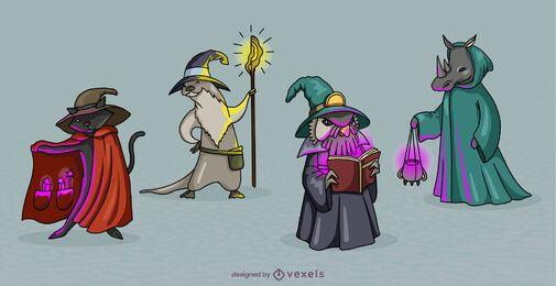 Conjunto de personagens de fantasia de animais bruxos