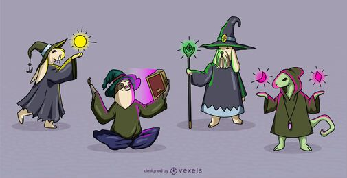 Animal sorcerers fantasy characters set