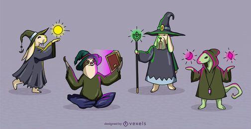 Conjunto de personagens de fantasia de feiticeiros animais