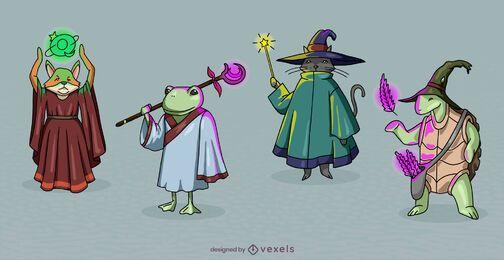 Conjunto de personagens fantásticos de bruxos e animais selvagens