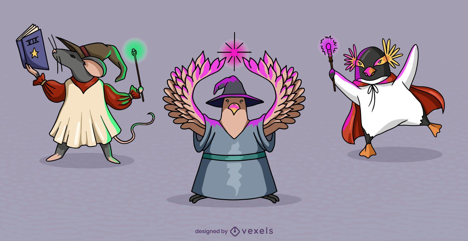 Conjunto de personajes de fantasía mágica de animales mago