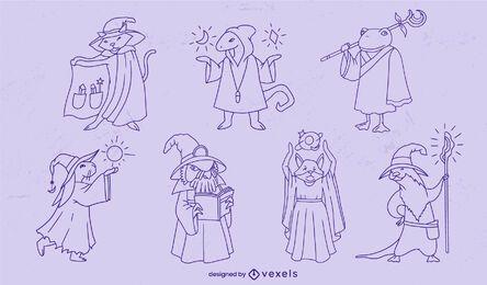 Conjunto de trazos de personajes de fantasía de animales mago