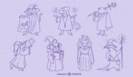 Wizard animals fantasy characters stroke set