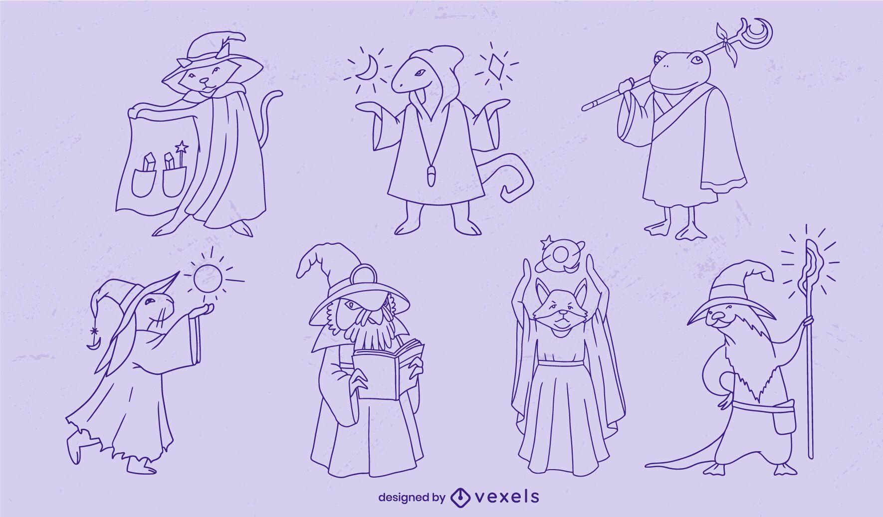 Zauberer Tiere Fantasie Charaktere Strichset