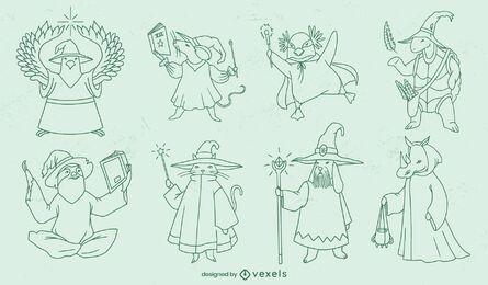Conjunto de traços de personagens de fantasia de feiticeiros animais